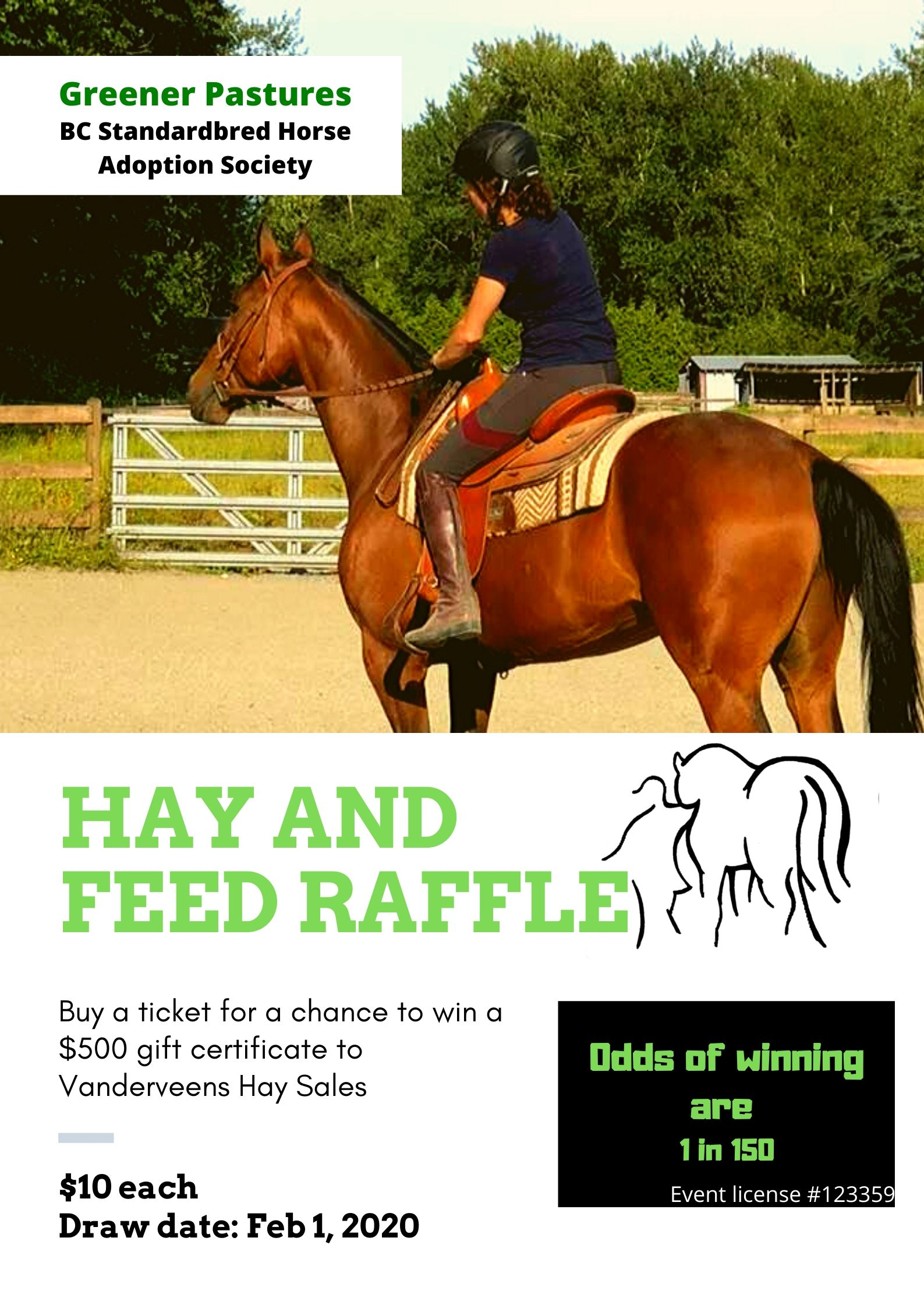 Dark Teal and White Raffle Fundraising Poster